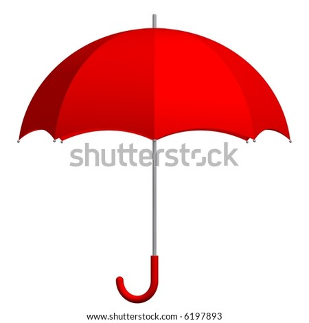 Perfect red umbrella isolated on white - stock photo