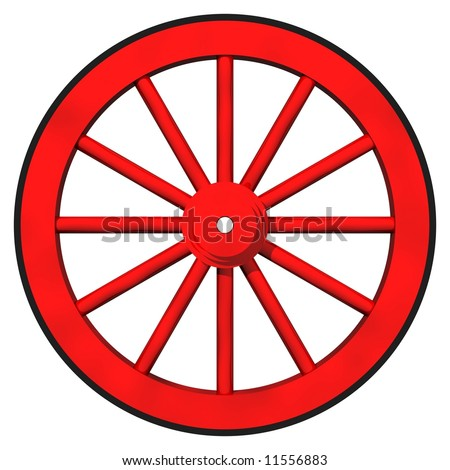 Perfect red wagon wheel isolated on white - stock photo