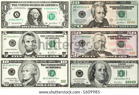 Perfect reference for designers! Every denomination of U.S. currency in one image. Contains true macro close-up's, better than 1:1 magnification at 300 DPI. Each bill has it's own clipping path. - stock photo