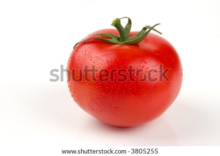 Perfect ripe red tomato with water drops