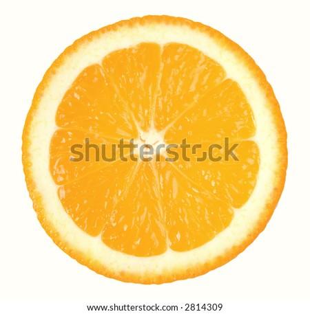 Perfect round slice of orange isolated - stock photo