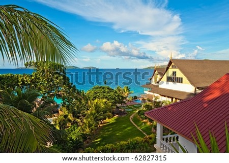 Perfect seascape view with a tropical hotel,  Seychelles, LaDigue island - stock photo