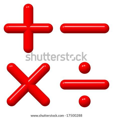 Perfect shiny 3d math symbols isolated on white - stock photo