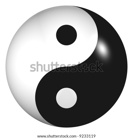 Perfect shiny ying-yang sphere isolated on white - stock photo