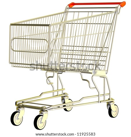 Perfect shopping cart isolated on white - stock photo