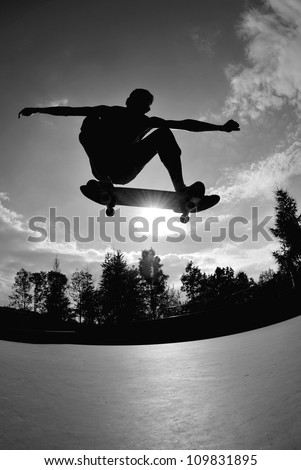 perfect silhouette of a skateboarder at a stylisch trick.