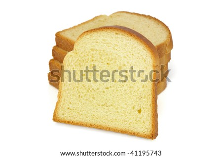 Perfect slices of golden bread on white