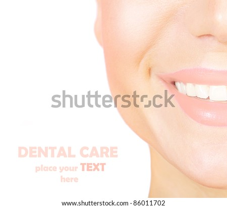 Perfect smile with white healthy teeth, closeup on beautiful female face, dental care concept - stock photo