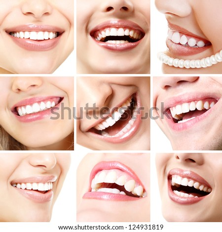 Perfect smiles. Collection of beautiful wide human smile with great healthy white teeth. Set isolated over white background - stock photo