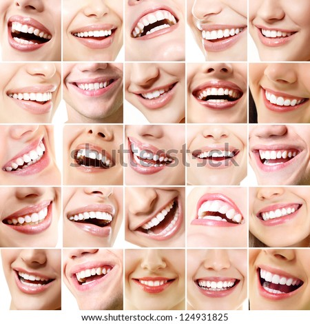 Perfect smiles. Set of 25 beautiful wide human smiles with great healthy white teeth. Isolated over white background