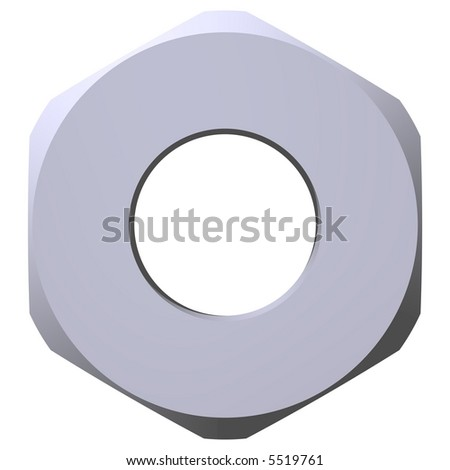perfect steel nut isolated on white - stock photo