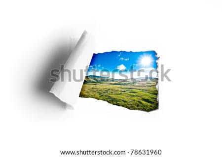 Perfect sunny summer day view trough hole in a paper - stock photo