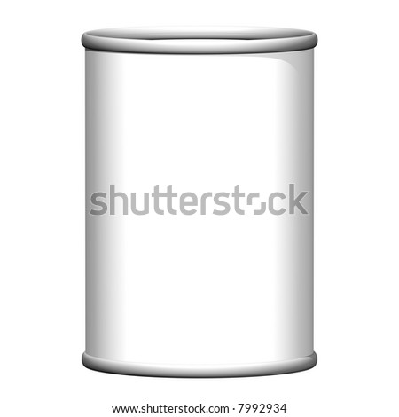 Perfect tin can with blank label isolated on white - stock photo
