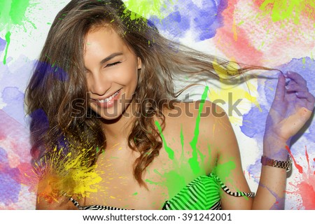 Perfect toothy smile. Caucasian young girl close up portrait. happy positive girl. colorful watercolor blots in the portrait and the background