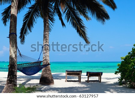 Perfect tropical beach of Zanzibar island with palm trees, sunbeds and hammock - stock photo