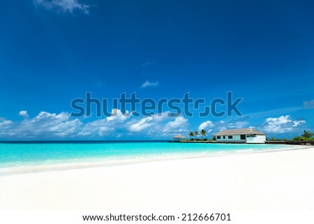 Perfect tropical island paradise beach Maldives - stock photo