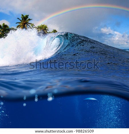 Perfect tropical ocean view splitted by waterline to two part. Shorebreak  breaking surfing wave. Palms and clouds in daylight with colorful rainbow. - stock photo