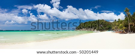 Perfect tropical white sand beach in Boracay, Philippines - stock photo