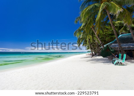Perfect tropical white sand beach on Boracay island, Philippines - stock photo