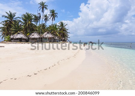 Perfect unspoiled caribbean island with native huts, San Blas. Panama. Central America. Latin America