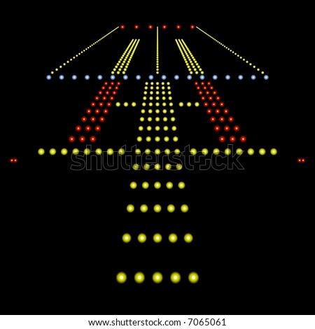 Perfect view of airport runway lights at night isolated on black - stock photo