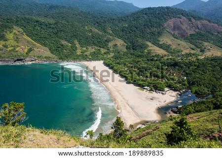 Perfect view of blue bay at Ilhabela island Rio do Janeiro, Sao Paulo. South America. - stock photo