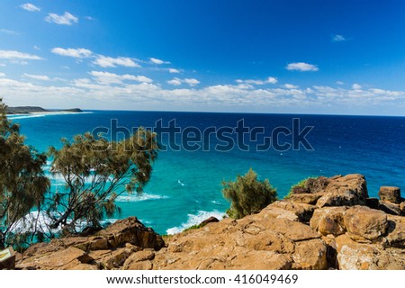 Perfect view over the sea in Front of Australia - stock photo