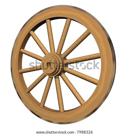 Perfect wagon wheel isolated on white - stock photo