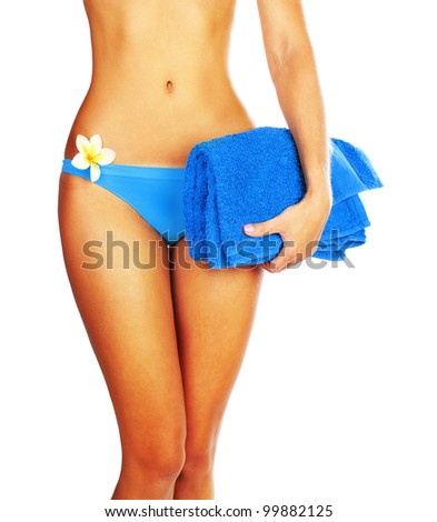 Perfect woman body in bikini with flower isolated on white background, best beach body, sexy girl figure, slim female model, concept image of summer holiday vacation, relaxing spa, healthy lifestyle - stock photo