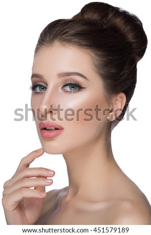 Perfect woman face portrait lips with fashion natural beige matte lipstick makeup. Beauty brunette sexy model girl with beautiful skin close her eyes and touching her lips. - stock photo
