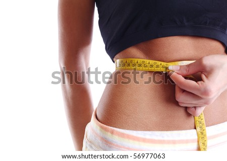 perfect woman hold scales - stock photo