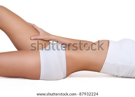 perfect woman's body isolated on white - stock photo