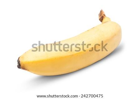 Perfect yellow banana isolated on white background - stock photo