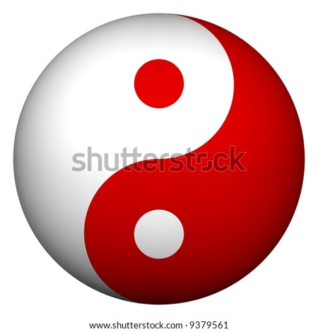 Perfect ying yang sphere isolated on white - stock photo