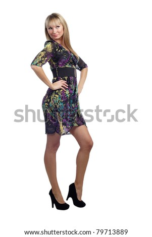 perfect young blond  girl in dress posing isolated on white background - stock photo