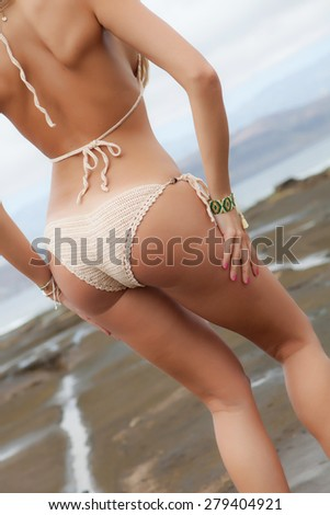 perfect young women back on beach with panties - stock photo