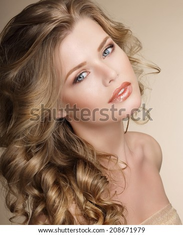 Perfection. Gorgeous Female with Frizzy Ashen Healthy Hair - stock photo