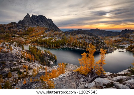 Perfection Lake in the Enchantment Lakes - stock photo