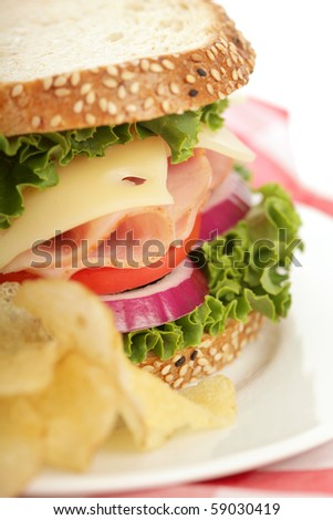 Perfectly easy and tasty lunch of sanwich and potato chips - stock photo