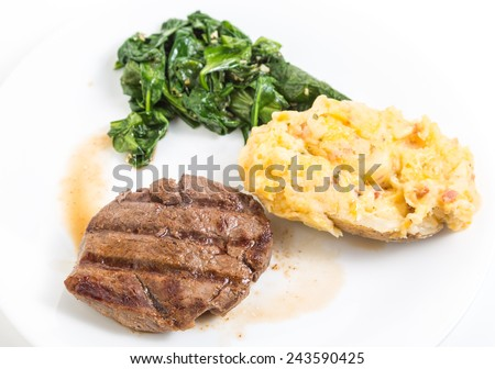 Perfectly grilled filet mignon in juice (au jus) on plate with twice baked potato and wilted spinach.  Strong back light and shallow depth of field. - stock photo