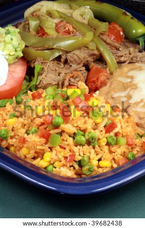 perfectly made mexican machaca beef  delicious aromatic slow down cooked  with hot  and sweet peppers