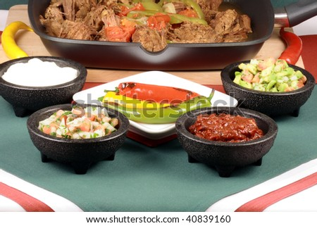 perfectly made mexican machaca beef  delicious aromatic slow down cooked  with hot  and sweet peppers - stock photo
