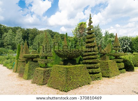 perfectly manicured hedges in a dutch park - stock photo