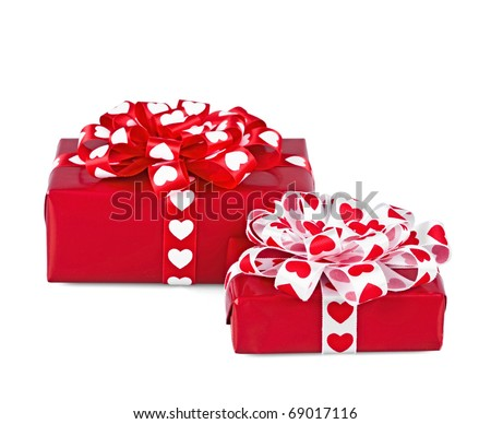 Perfectly packed two gifts on the white - stock photo
