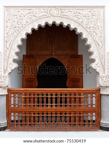 Perfectly restored classical arabic riad with carved facade. - stock photo