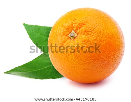 Perfectly retouched whole orange with leafs isolated on white background whith clipping path
