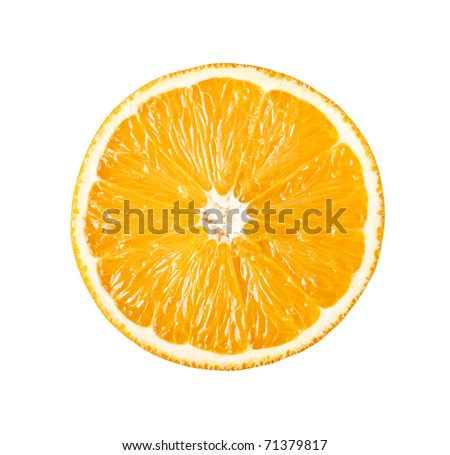 Perfectly round orange sliced in half isolated on white background - stock photo