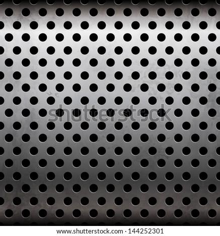 Perforated metallic seamless pattern - stock photo