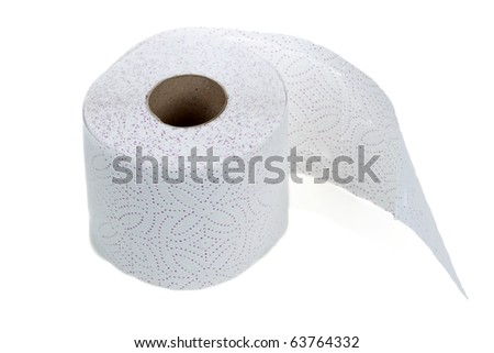 Perforated toilet paper in roll on white background - stock photo