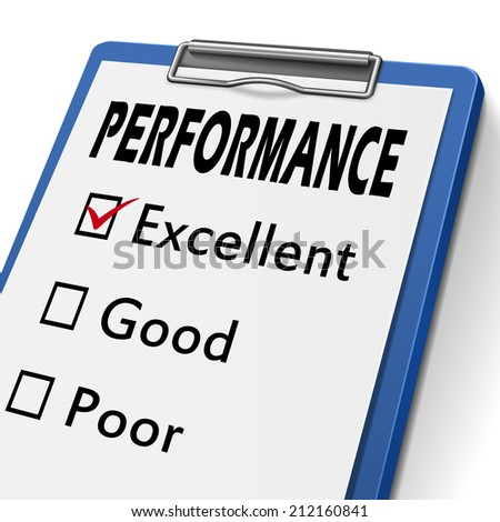 performance clipboard with check boxes marked for excellent, good and poor - stock photo